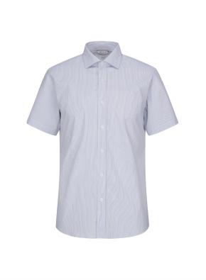 스판 클래식 스트라이프 반소매 블루 드레스셔츠