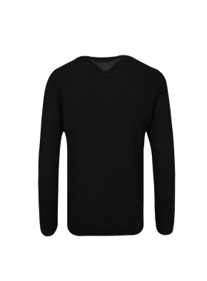 모 100% 텍스처드 베이직 스웨터 (BK)