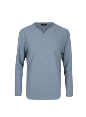 조직물 넥변형 긴팔 티셔츠 (BL)