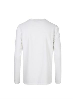 조직물 넥변형 긴팔 티셔츠 (WT)
