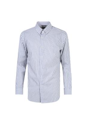 히든스냅카라 멀티 스트라이프 네이비 셔츠