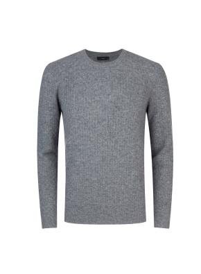 메리노울 100% 텍스쳐드 스웨터 (GR)