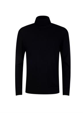 모 100% 원사 터틀넥 스웨터 (BK)