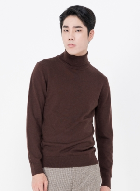 모 100% 원사 터틀넥 스웨터 (BR)