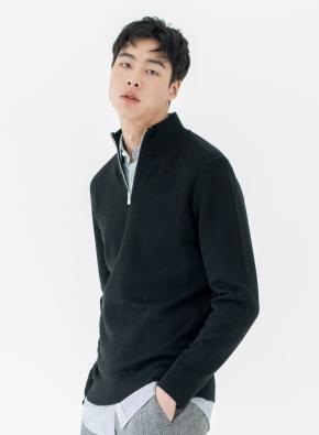 모/아크릴 모크넥 반집업 스웨터 (BK)