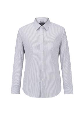 면스판 스트라이프 레귤러카라 드레스셔츠(GR)