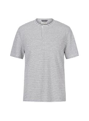 린넨 스트라이프 헨리넥 티셔츠(GR)