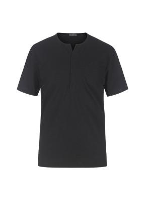 슬럽원단 넥변형 반팔 티셔츠(BK)