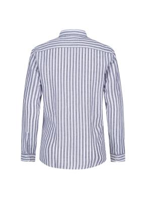 코튼린넨 스트라이프 내츄럴워싱 셔츠(NV)