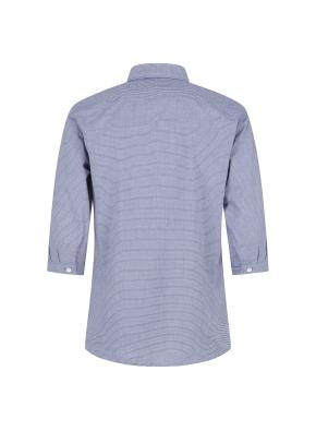 스트라이프 7부 네이비 셔츠