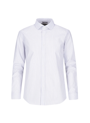코튼 변형스트라이프 블루 드레스셔츠