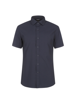 코튼스판 세미와이드카라 반소매 드레스셔츠(NV)