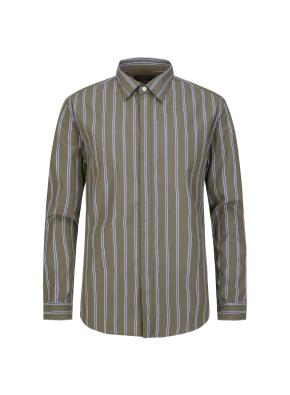 카키 스트라이프 셔츠
