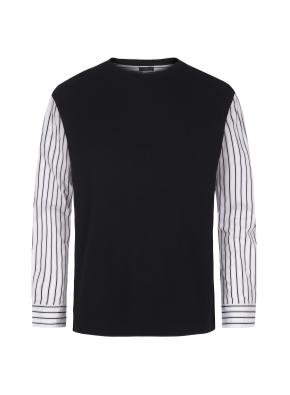 스트라이프 셔츠 레이어드 니트 (BK)