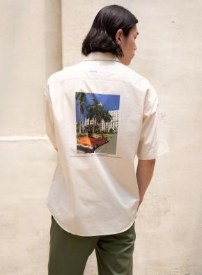 파라다이스 그래픽 오버핏 반팔셔츠