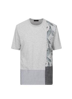 스트라이프 플라워프린팅 티셔츠 (GR)
