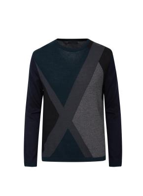 비대칭 컬러블록 풀오버 스웨터(GN)