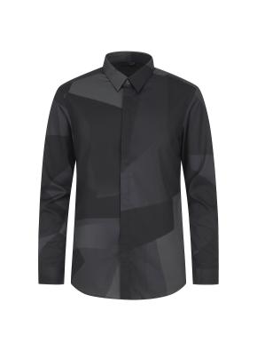 프린트 패턴 포인트 셔츠(GR)