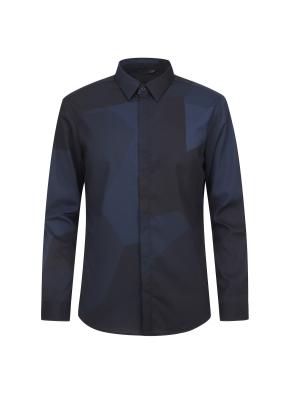프린트 패턴 포인트 셔츠(NV)
