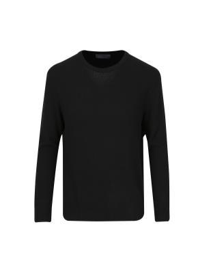 울캐시 조직변형 스웨터 (BK)