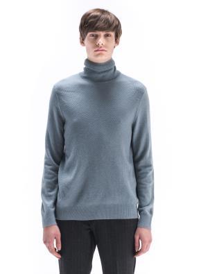 울캐시 조직변형 터틀넥 스웨터 (MT)