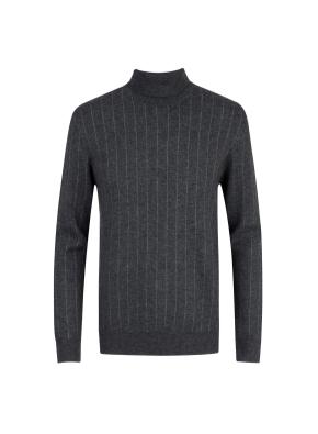 울캐시 스트라이프 터틀넥 스웨터 (GR)