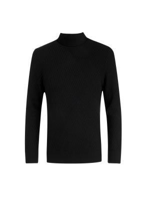 울캐시 볼드조직 터틀넥 스웨터 (BK)