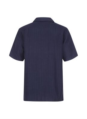 레이온린넨 혼방 반소매 네이비 카바나 셔츠