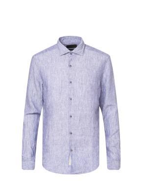 린넨 100% 세미와이드카라 솔리드 셔츠 (BL)