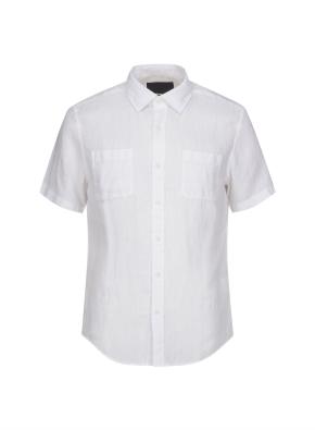 코튼린넨 반소매 캐쥬얼 셔츠 (WT)