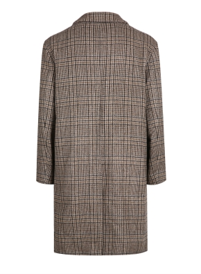 울혼방 브라운 글랜체크 세미오버핏 코트