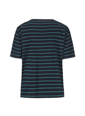 스트라이프 오버핏 반팔 티셔츠(NV)