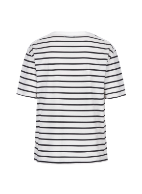 스트라이프 오버핏 반팔 티셔츠(WH)