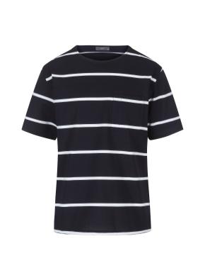 스트라이프 세미오버핏 반팔 티셔츠(NV)