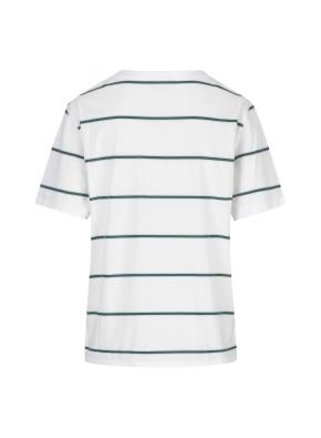 스트라이프 세미오버핏 반팔 티셔츠(WH)