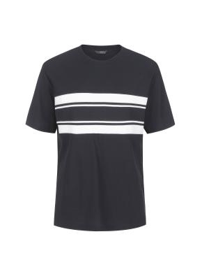 조직물 배색 절개 세미오버핏 반팔 티셔츠(NV)