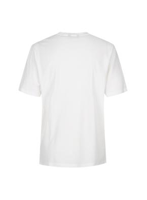 조직물 배색 절개 세미오버핏 반팔 티셔츠(WH)