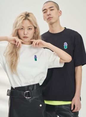 [앤드지X차인철 콜라보]자수와펜 세미오버핏 티셔츠(BK)