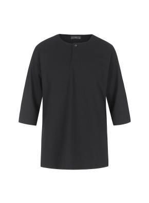 헨리넥 7부 티셔츠(BK)