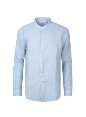 린넨 면혼방 소재 밴드카라 셔츠(BL)