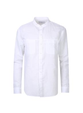린넨 면혼방 소재 밴드카라 셔츠(WT)