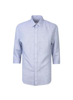 린넨 면혼방 소재 7부 밴드카라 셔츠(NV)