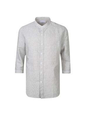 린넨 면혼방 소재 핀스타라이프 밴드카라 셔츠(KH)