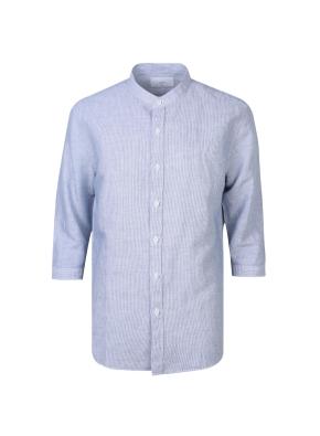 린넨 면혼방 소재 핀스타라이프 밴드카라 셔츠(NV)