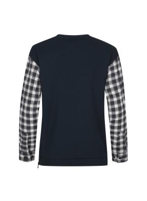 셔츠 레이어드 사이드지퍼 맨투맨 (DGN)