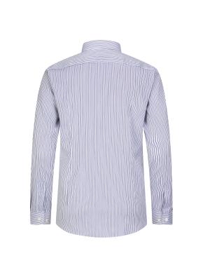 블루 핀 스트라이프 드레스 셔츠