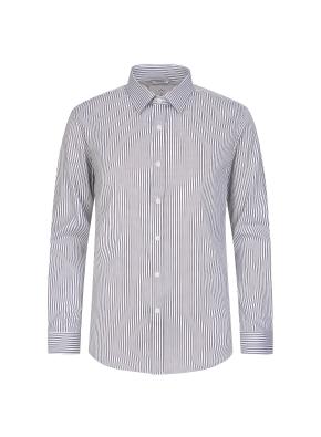 브라운 핀 스트라이프 드레스 셔츠
