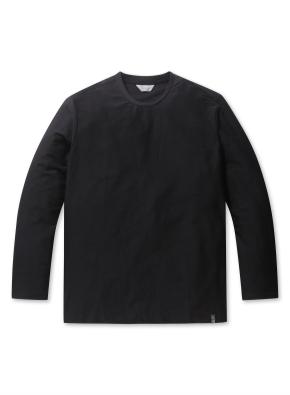 남성 리버스테리 솔리드 라운드 티셔츠 _ (BK)