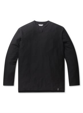 남성 리버스테리 슬릿넥 티셔츠 _ (BK)