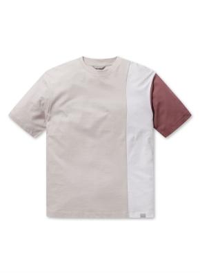 남성 블록 반팔 티셔츠 _ (BE)
